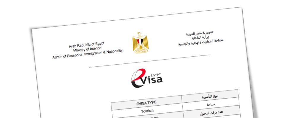 Esempio del visto Egitto