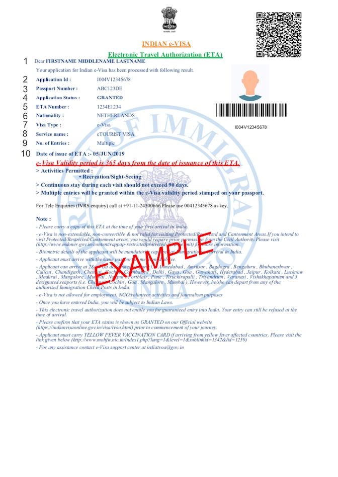 Facsimile PDF visto India